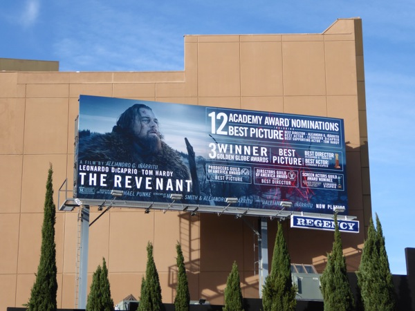 The Revenant Oscar nominations billboard