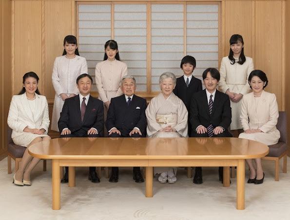 Emperor Akihito, Empress Michiko, Crown Prince Naruhito, Crown Princess Masako,Princess Aiko, Prince Akishino, Princess Kiko, Princess Mako, Princess Kako,Prince Hisahito