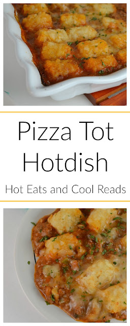 A delicious family friendly casserole! Perfect for weeknights, or even Sunday dinner! Pizza Tater Tot Hotdish Recipe from Hot Eats and Cool Reads