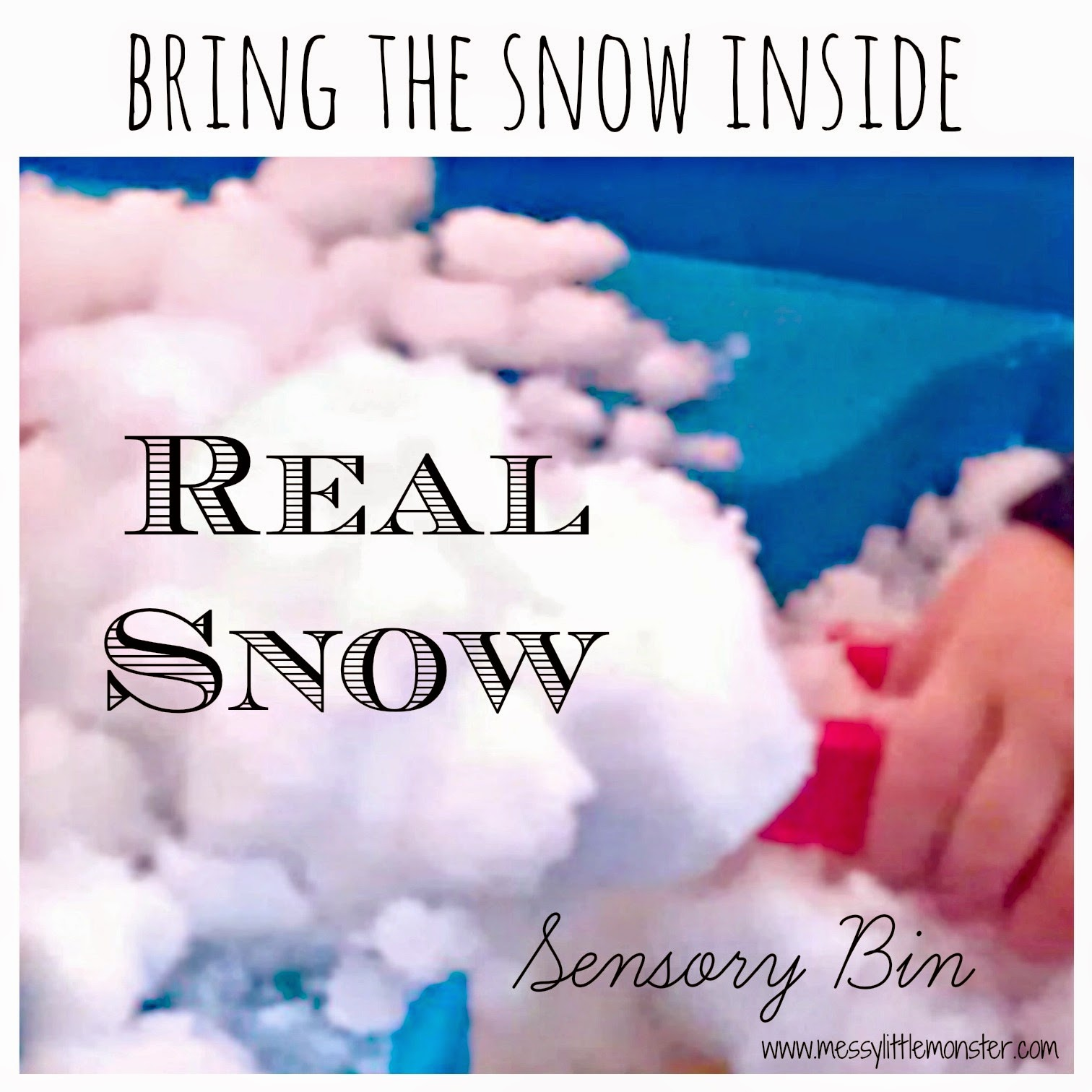 real snow sensory bin activity for kids