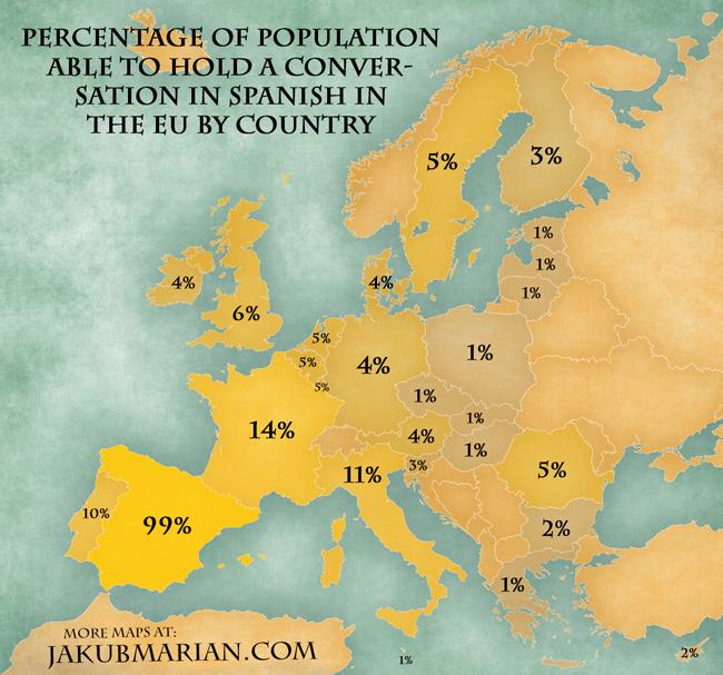 Percentage of population able to hold a conversation in Spanish in the EU by country