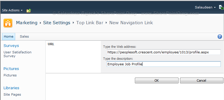 sharepoint top link new window