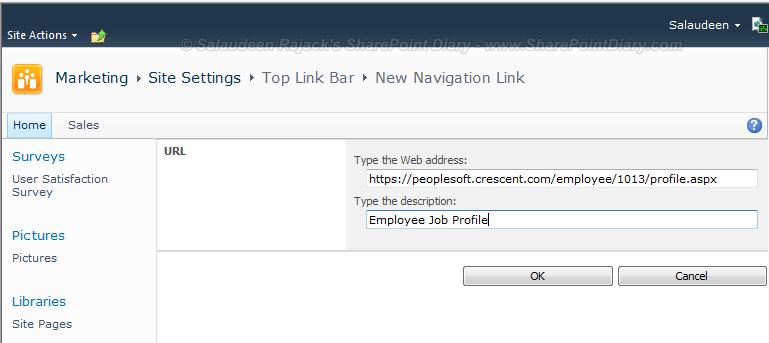 sharepoint top link new window