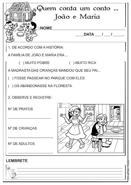 Atividade João e Maria Contos de Fada