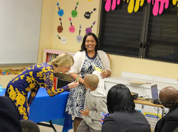The Countess of Wessex visited Garvin Tynes Primary School and its Centre for Autism. She was also presented with handmade gifts by some of the students.