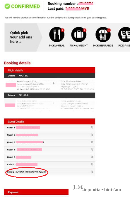 Pembetulan nama pada tiket Air Asia - Typo error
