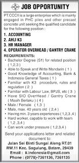 Lowongan Kerja PT. CCCII Batam Indonesia