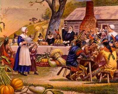 Old color image of people celebrating thanksgiving together