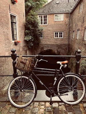 A bike in 's-Hertogenbosch overlooking a canal.