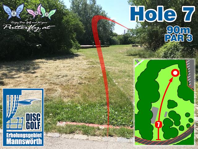 Hole 7 Disc Golf Parcours Erholungsgebiet Mannswörth - Schwechat