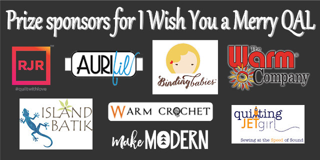 Grand prize sponsors for the I Wish You a Merry Quilt Along
