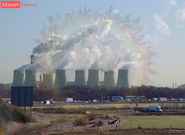 Polusi udara dari industri pabrik merupakan contoh penyebab pemanasan global
