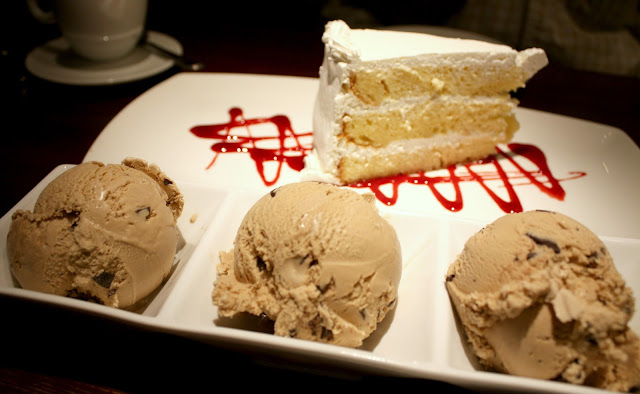 Tres leches cake and cappuccino chip ice cream