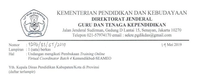 Surat Tugas dari Dirjen GTK untuk Instruktur VCT Batch 4 dan Undangan Peserta