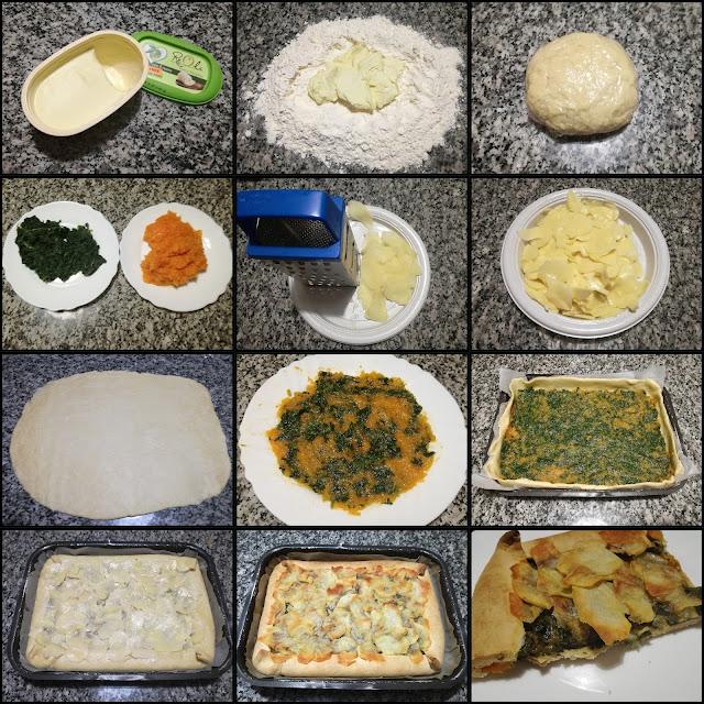 Torta salata di spinaci, zucca e patate
