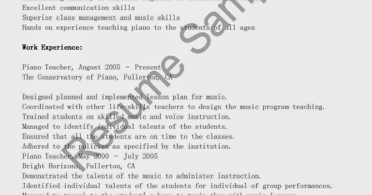 Resume Sample Resume Life Skills Instructor Sample Resume Life Skills  Instructor Create Professional Resumes Samples Piano  Piano Teacher Resume
