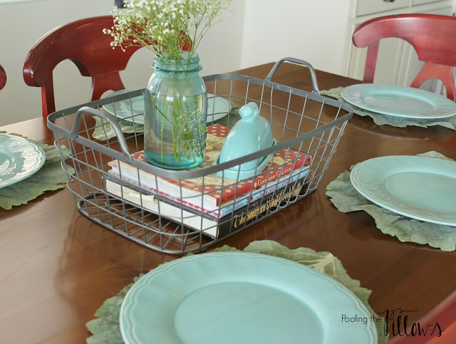 Spring kitchen tour at Poofing the Pillows. Incorporating red and robin's egg blue. White kitchen.