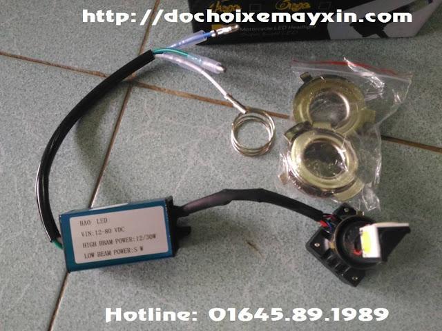 Hình ảnh chi tiết đèn Led gắn pha xe máy model 2 tim, 3 tim, 6 tim 2