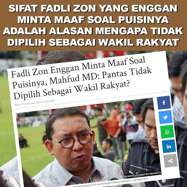Fadli Zon Enggan Minta Maaf Soal Puisinya, Mahfud MD: Pantas Tidak Dipilih Sebagai Wakil Rakyat ?