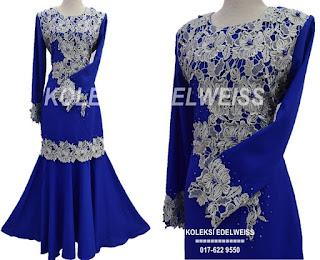 Baju Kurung Moden Lace Warna Royal