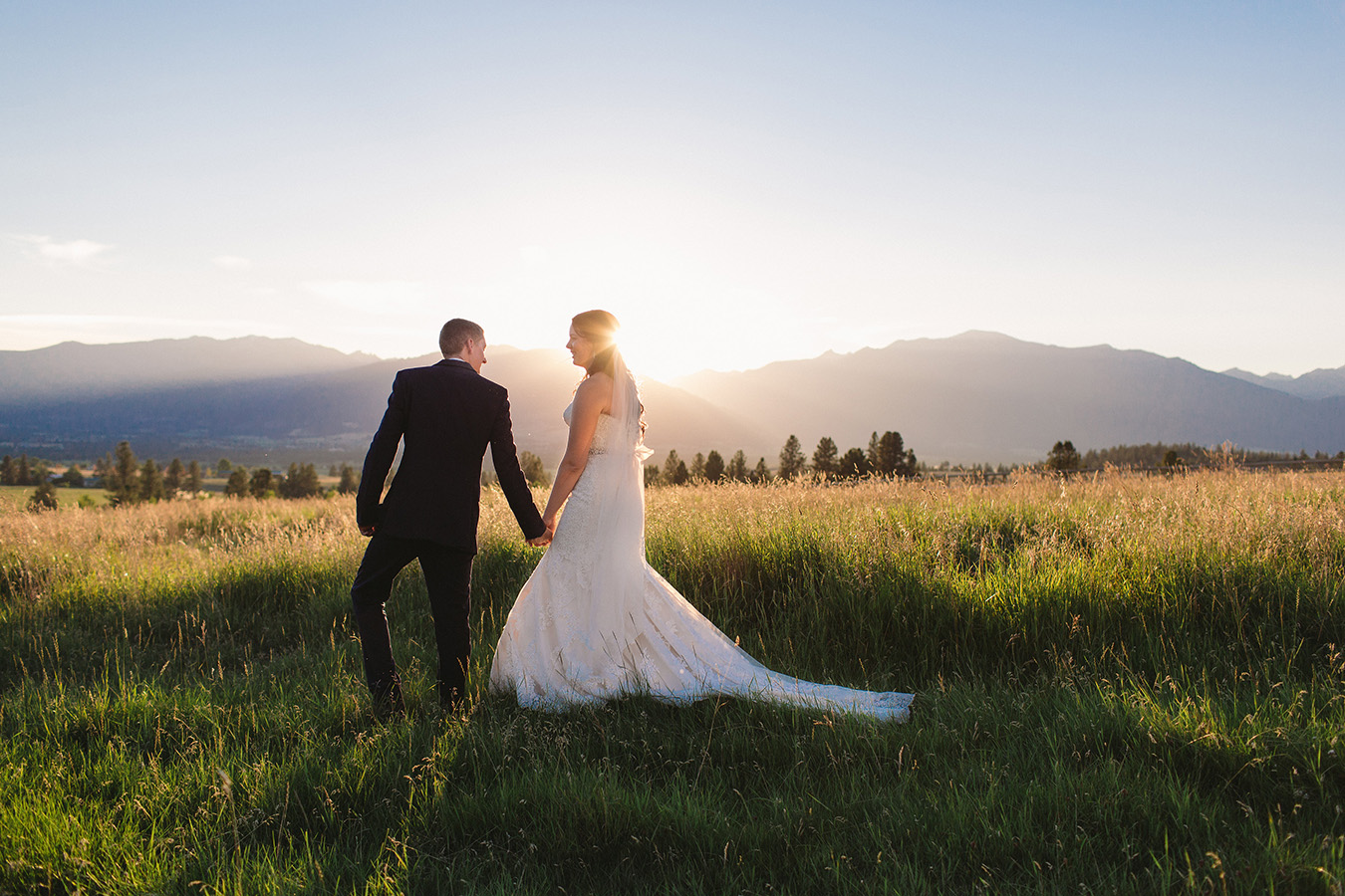 Bride, Montana, Mountains, Sunset, Wedding, Wedding Photography