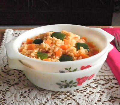 Fried Vegetarian Rice Recipe @ treatntrick.blogspot.com