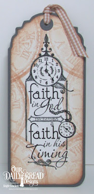 ODBD His Timing, ODBD Time, ODBD Custom Vintage Labels Dies, Bookmark Designed by Angie Crockett