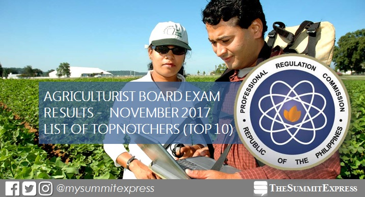 RESULTS: November 2017 Agriculturist board exam top 10 passers
