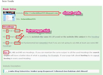cara mengecek Nilai SEO blog kita dengan chkme