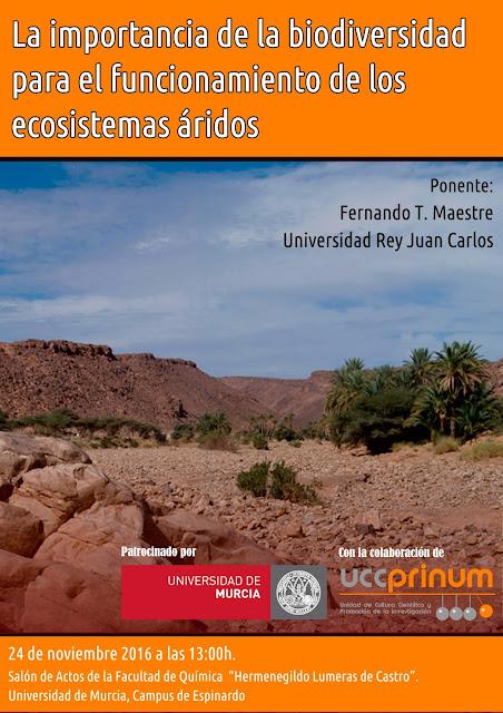 """Conferencia """"La importancia de la biodiversidad para el funcionamiento de los ecosistemas áridos""""."""