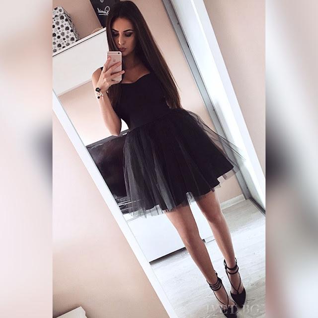 Αμάνικο κοντό μαύρο φόρεμα ALANDRA BLACK