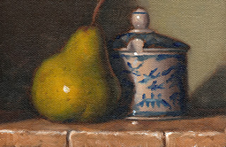 Oil painting of a green pear beside a blue and white porcelain sugar bowl.