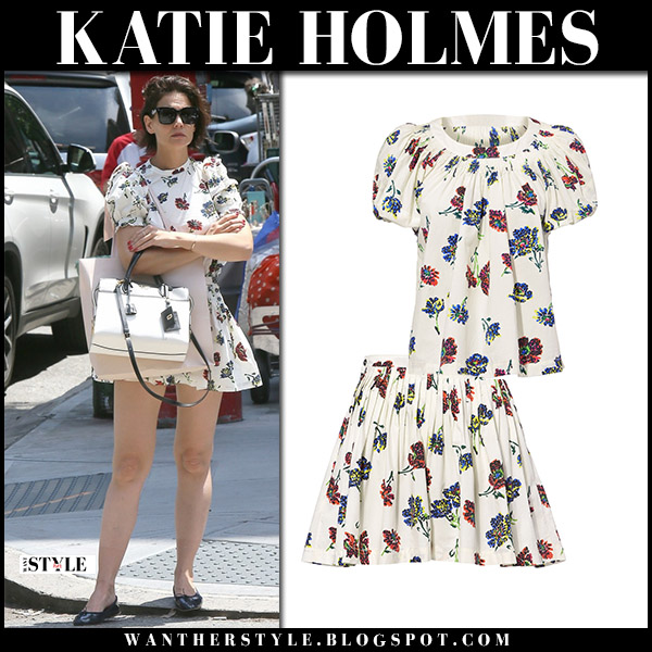Katie Holmes in white floral print top and shorts ulla johnson summer street style june 9