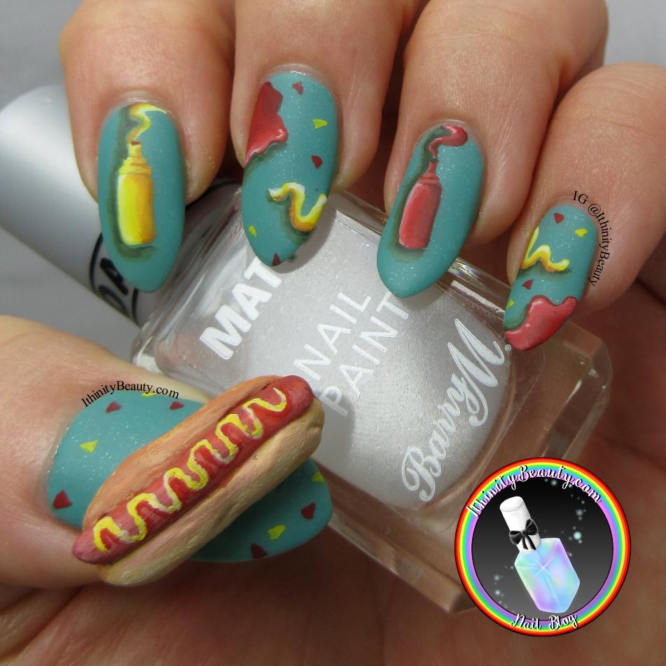 3D Hotdog Nail Art | IthinityBeauty.com Nail Art Blog