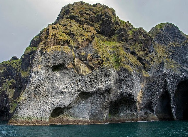 Majestic natural rock in the shape of an elephant in Iceland