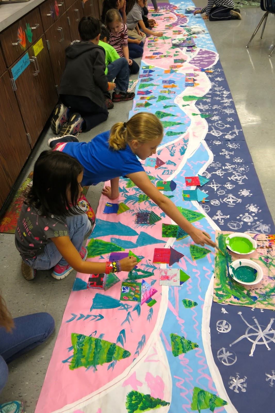 Collaborative Classroom Projects ~ Cassie stephens in the art room a winter mural collaborative