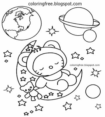 Simple art planets space clipart cartoon moon coloring earth space activities for kindergarten kids