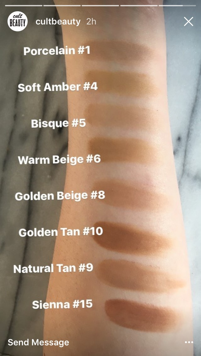 Vincent Longo Cosmetics water canvas creme to powder foundation swatches cult beauty
