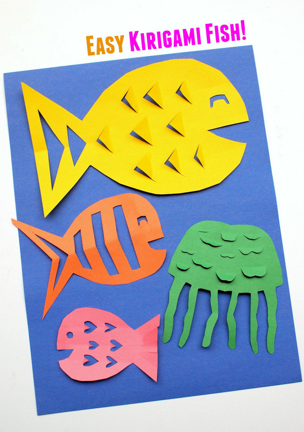 Easy Kirigami Fish Craft for younger children