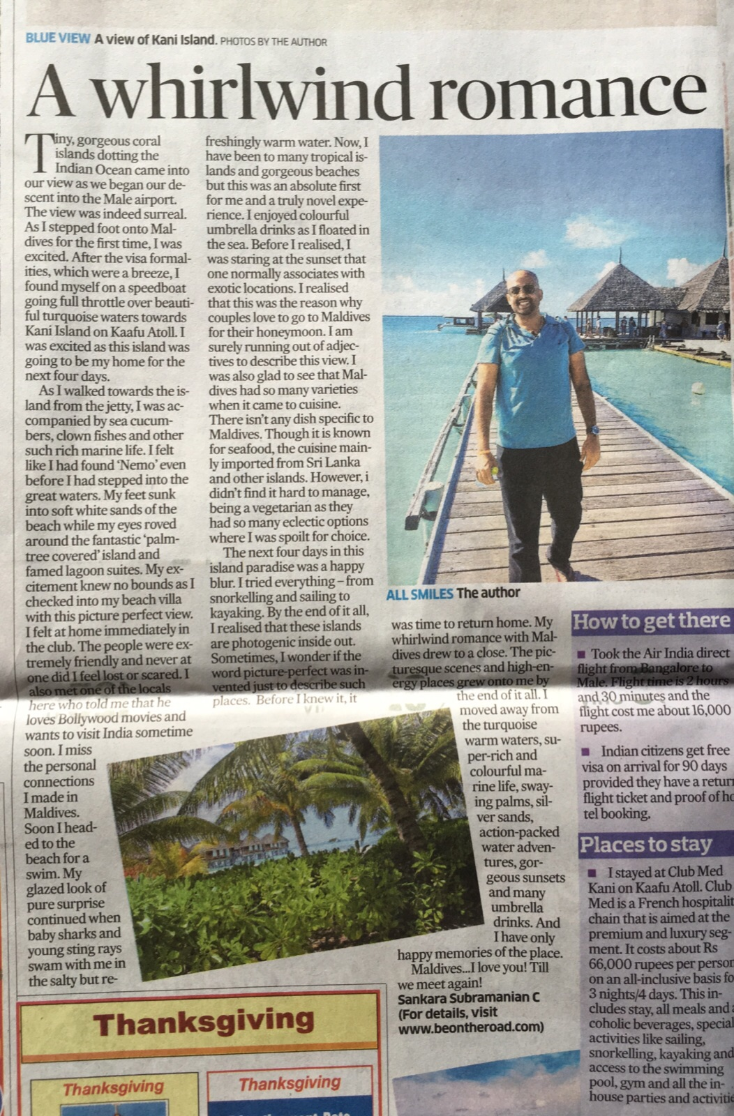 MyWhirlwind Romance - Maldives article in Deccan Heralad