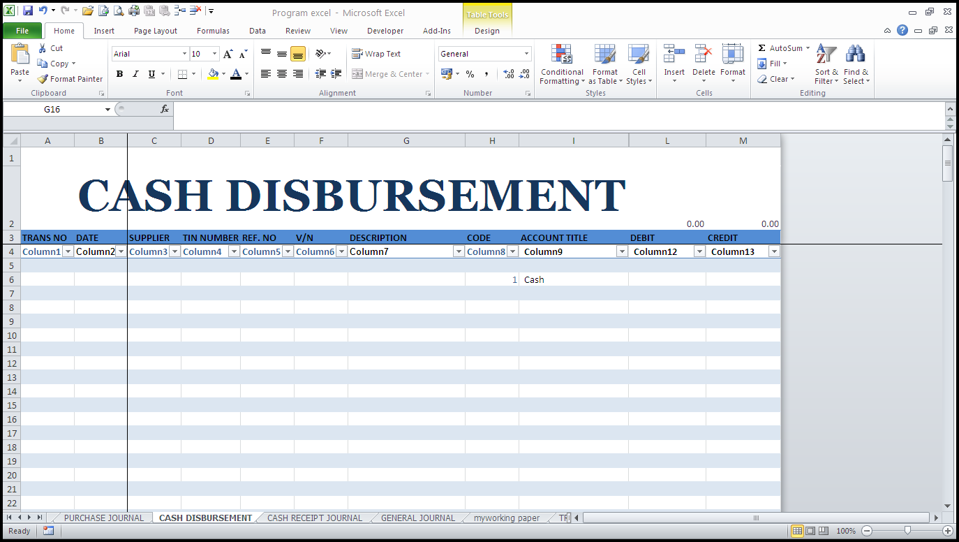 cash disbursement journal template - cash disbursement journal my site