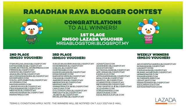 Alhamdulillah, Thank You Lazada! Pemenang Ramadhan Raya Blogger Contest