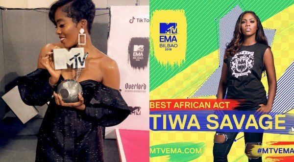 Tiwa Savage becomes the first woman to win 'Best African Act' at the MTV Europe awards
