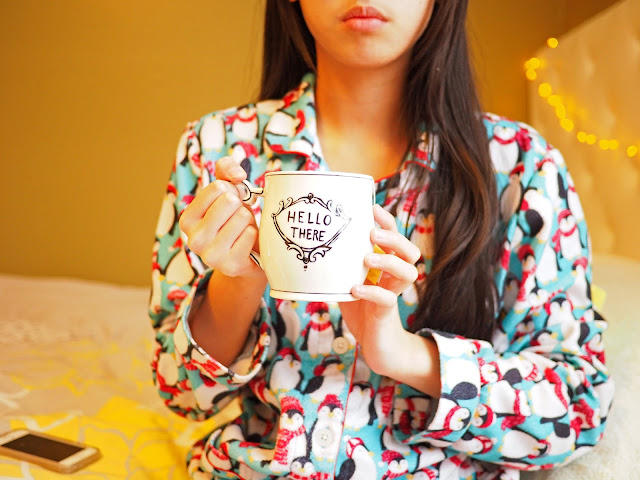 Pajamas, Mug, Bed