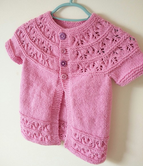 Short-sleeved Cute as a Button Cardi - Free Pattern