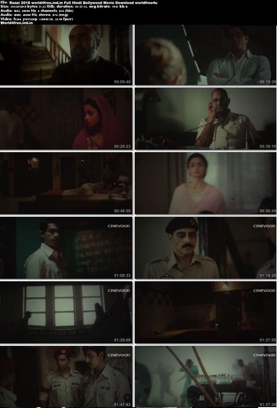 Screen Shoot of Raazi 2018 Full Hindi Movie Download In pDVDRip 700Mb