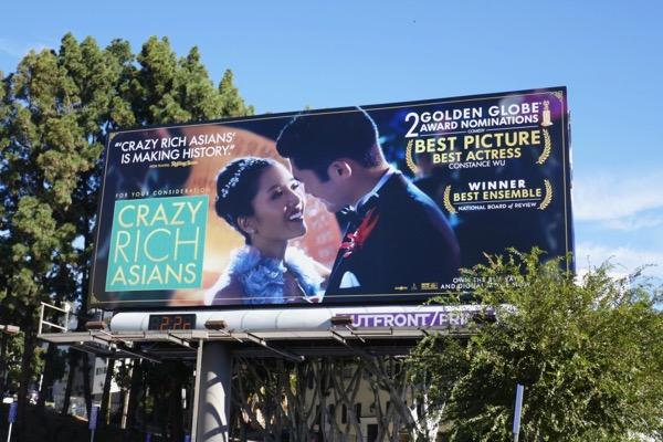 Crazy Rich Asians Golden Globe billboard