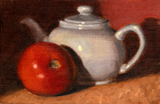 Oil painting of a tomato beside a small white porcelain teapot.