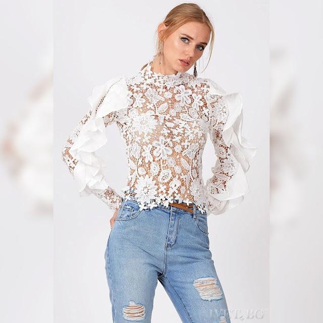 Μακρυμάνικο γυναικείο άσπρο πουκάμισο KASSEY