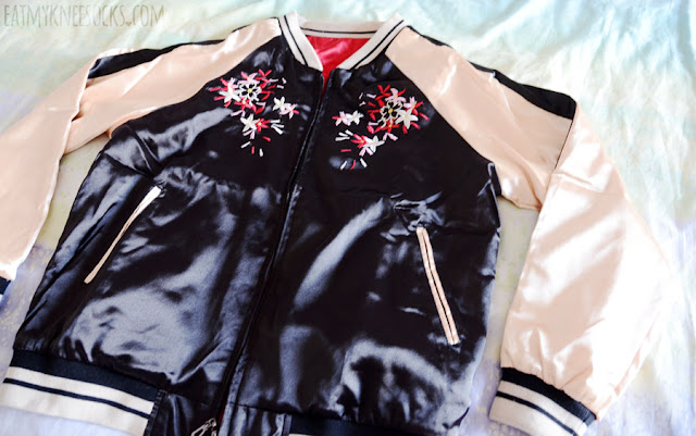 Details on the reversible cherry blossom embroidered satin bomber jacket from SheIn.